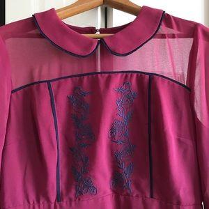 ModCloth Burgundy Embroidered Dress
